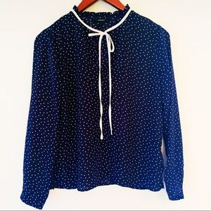 Navy and white polka dot blouse | Size S